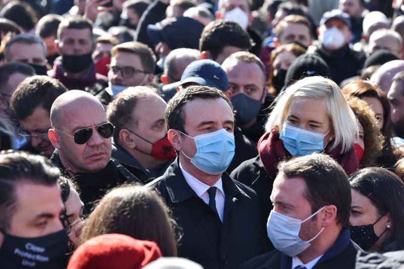 Albin Kurti, leader of Vetevendosje party looks on during a final campaign rally in Pristina