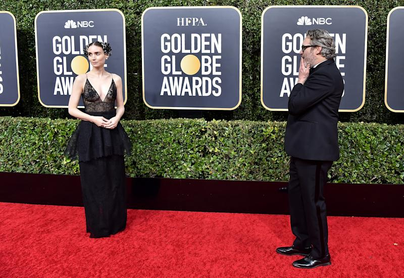 BEVERLY HILLS, CALIFORNIA - JANUARY 05: Rooney Mara and Joaquin Phoenix attend the 77th Annual Golden Globe Awards at The Beverly Hilton Hotel on January 05, 2020 in Beverly Hills, California. (Photo by Axelle/Bauer-Griffin/FilmMagic)