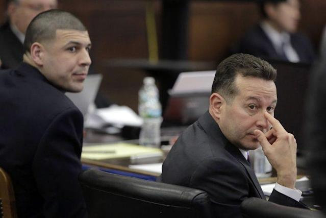 Jose Baez (right) and Aaron Hernandez in court on April 3, 2017. (AP)