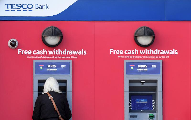 Tesco Bank cashpoint. Photo: PAUL ELLIS/AFP/Getty Images