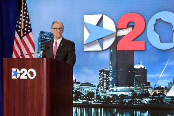 PHOTO: Democratic National Committee Chairman Tom Perez addresses the last day of the Democratic National Convention, being held virtually amid the novel coronavirus pandemic, at its hosting site in Milwaukee, Aug. 20, 2020. (Tannen Maury/Pool via AFP/Getty Images)
