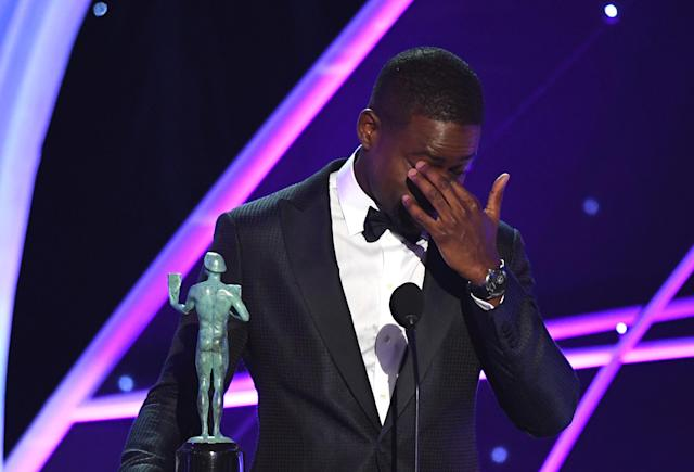 Brown, who made history by becoming the first black actor to win in this category, accepts his award for Outstanding Performance by a Male Actor in a Drama Series for his role in <em>This Is Us</em>. (Photo: Getty Images)