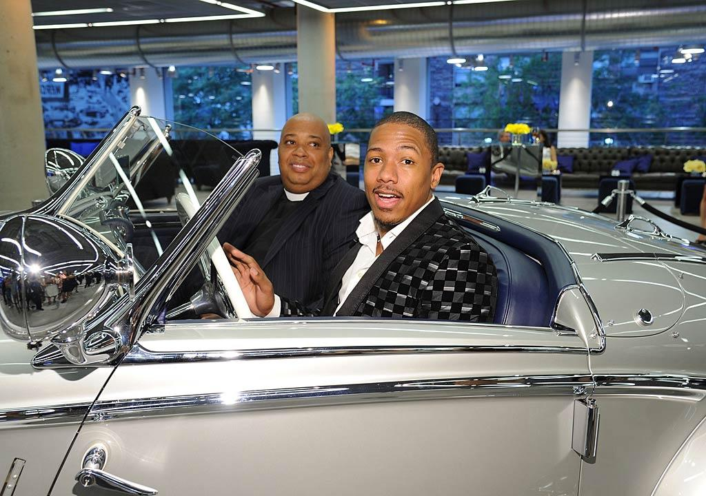 "Nice ride! New dad Nick Cannon and Rev Run got behind the wheel of a glitzy automobile at the gala opening of the new Mercedes-Benz Manhattan on Tuesday. Mike Coppola/<a href=""http://www.gettyimages.com/"" target=""new"">GettyImages.com</a> - June 21, 2011"
