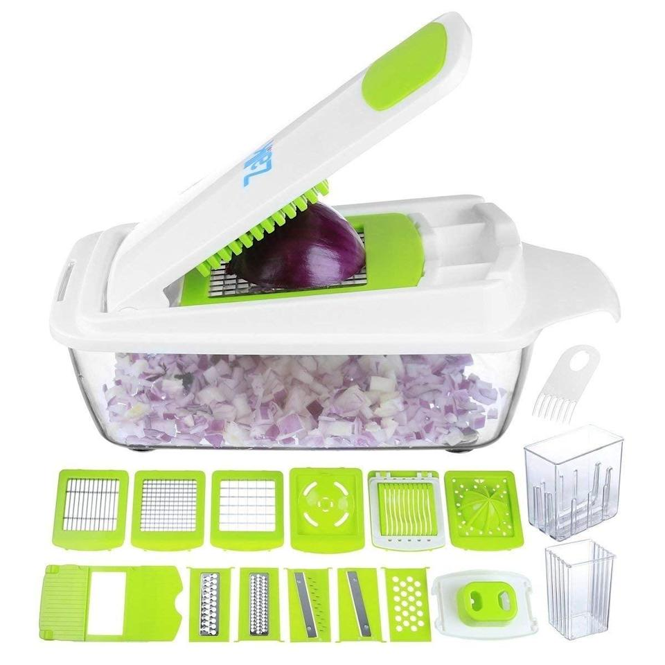 """<p>This <a href=""""https://www.popsugar.com/buy/Vegetable-Chopper-Pro-Onion-Chopper-403269?p_name=Vegetable%20Chopper%20Pro%20Onion%20Chopper&retailer=amazon.com&pid=403269&price=43&evar1=casa%3Aus&evar9=47575922&evar98=https%3A%2F%2Fwww.popsugar.com%2Fhome%2Fphoto-gallery%2F47575922%2Fimage%2F47575969%2FVegetable-Chopper-Pro-Onion-Chopper&list1=gadgets%2Ckitchens%2Chome%20shopping&prop13=mobile&pdata=1"""" class=""""link rapid-noclick-resp"""" rel=""""nofollow noopener"""" target=""""_blank"""" data-ylk=""""slk:Vegetable Chopper Pro Onion Chopper"""">Vegetable Chopper Pro Onion Chopper</a> ($43) is like having a kitchen assistant to help speed up prepping time.</p>"""