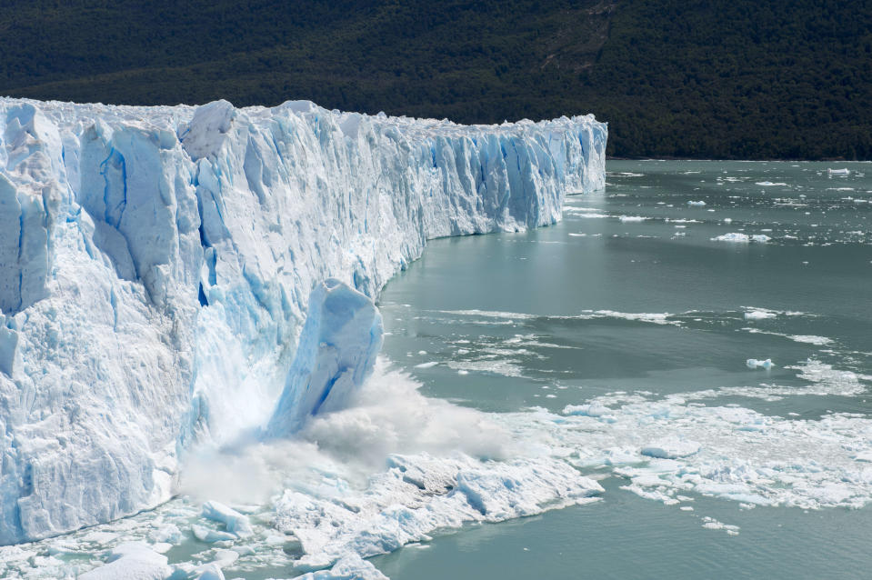 ARGENTINA - 2017/06/30: Sequence of a huge chunk of ice calving from the glacier face of the Perito Moreno Glacier in Los Glaciares National Park near El Calafate, Argentina. (Photo by Wolfgang Kaehler/LightRocket via Getty Images)