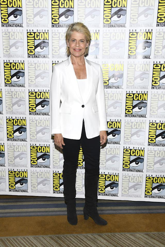 """Linda Hamilton at the press line for """"Terminator: Dark Fate"""" at 2019 Comic-Con International - Day 1  on July 18, 2019 in San Diego, California. Photo courtesy of Getty Images."""