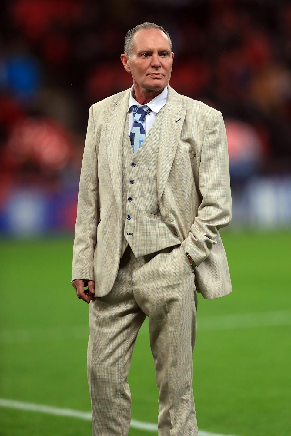 Former England player Paul Gascoigne attending the UEFA Euro 2020 Qualifying match at Wembley, London.
