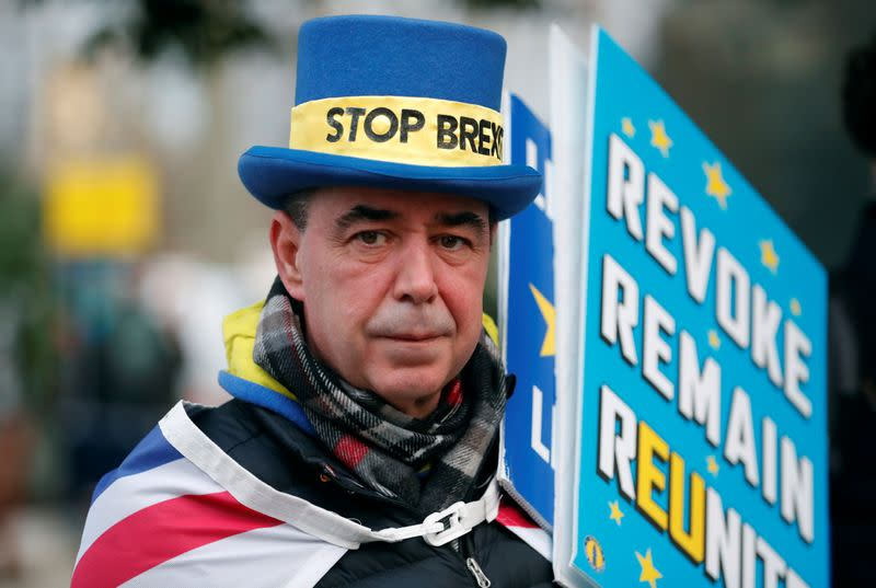 Westminster protester and anti Brexit activist Steve Bray is seen during a Reuters interview near the Parliament Buildings in Westminster, London