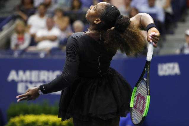 Serena Williams serves to Venus Williams during the third round of the U.S. Open tennis tournament Friday, Aug. 31, 2018, in New York. Serena Williams won 6-1, 6-2. (AP Photo/Adam Hunger)