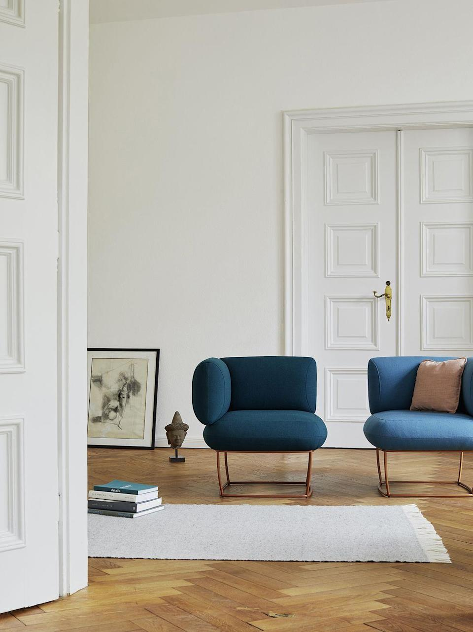 """<p>Austrian architect and designer Nina Mair's latest launch for Italian brand LaCividina is the user-friendly 'Bernard' collection. The lounge chair is the highlight of the series – its back and armrest are the same height, allowing sitters to choose the direction they want to face without having to move the furniture. From approx £1,130, <a href=""""https://lacividina.com/"""" rel=""""nofollow noopener"""" target=""""_blank"""" data-ylk=""""slk:lacividina.com"""" class=""""link rapid-noclick-resp"""">lacividina.com</a></p>"""