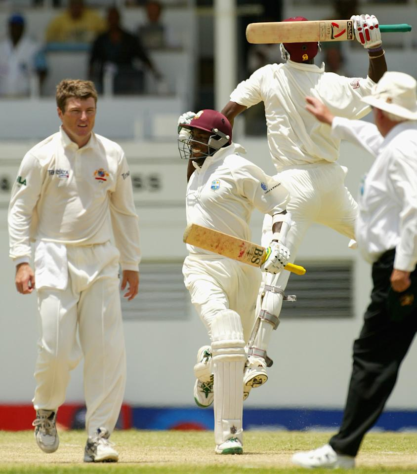 West Indies - 418 for 7 vs Australia at St. John's, Antigua in May 2003. BRIEF SCORES: Australia 240 (Justin Langer 42, Steve Waugh 41, Jermaine Lawson 7-78) and 417 (Matthew Hayden 177, Justin Langer 111, M Dillon 4-112, Vasbert Drakes 2-92) LOST TO West Indies 240 (Brian Lara 68, Devon Smith 37, Andy Bichel 3-53, Brett Lee 3-72) and 418-7 (Ramnaresh Sarwan 105, Shivnarine Chanderpaul 104, Brian Lara 60, Brett Lee 4-63). West Indies were hobbling at 165 for 4 and were then reduced to 288 for 6; and when Chanderpaul was dismissed the hosts were 372 for 7, but Omari Banks (47*) and Drakes (27*)'s unbroken 46-run partnership for the eighth wicket sealed a historic victory and deny Australia a clean sweep of the four-Test series.