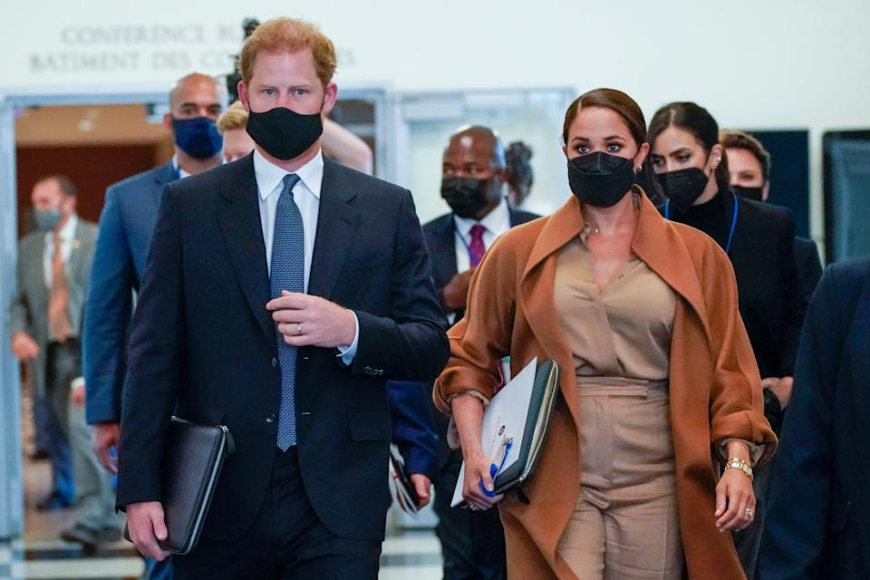Prince Harry and Duchess Meghan leave the United Nations headquarters after a visit during the 76th session of the U.N. General Assembly on Sept. 25, 2021.