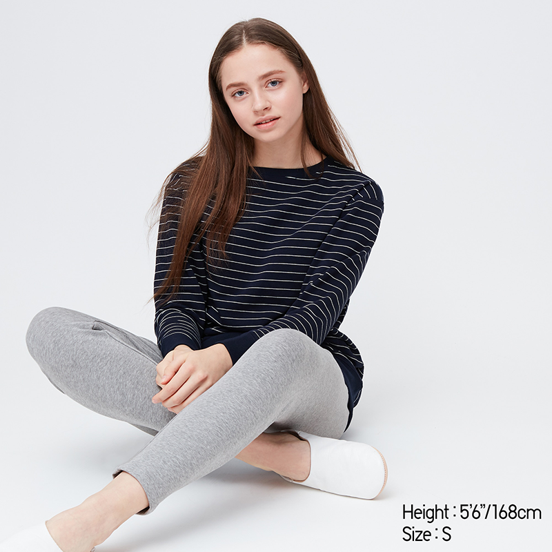 """<p>Stretchy clothes are the best clothes, and this set has a lot of it. The stretch fabric is made using a special knitting technique so that it can stretch in all directions, and it has tapered cuffs to create a clean look and avoid dragging sleeves.</p> <p><strong>To buy</strong>: $30, <a href=""""https://click.linksynergy.com/deeplink?id=93xLBvPhAeE&mid=40462&murl=https%3A%2F%2Fwww.uniqlo.com%2Fus%2Fen%2Fwomen-ultra-stretch-striped-tunic-set-424355.html%3Fdwvar_424355_color%3DCOL69%26cgid%3Dwomen-loungewear&u1=RS%2C10ElevatedLoungewearPickstoMakeWorkingFromHomeMoreComfortable%25E2%2580%2594andStylish%2Chhong%2CCLO%2CIMA%2C698228%2C202003%2CI"""" target=""""_blank"""">uniqlo.com</a>.</p>"""