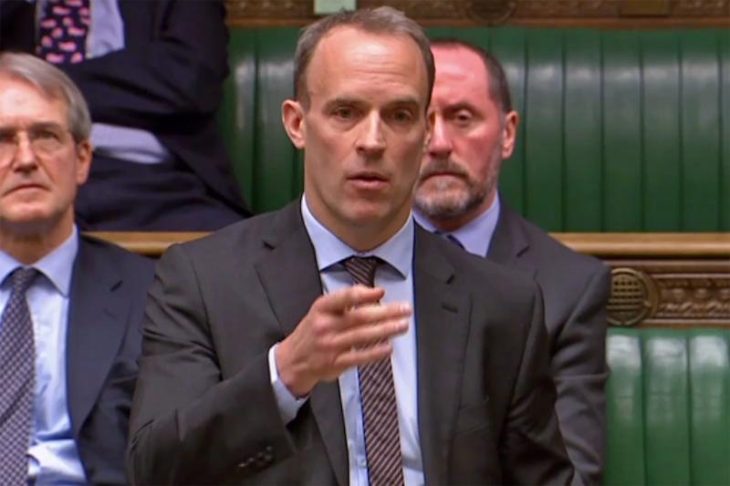 Dominic Raab speaks in the House of Commons in London on March 29, 2019.