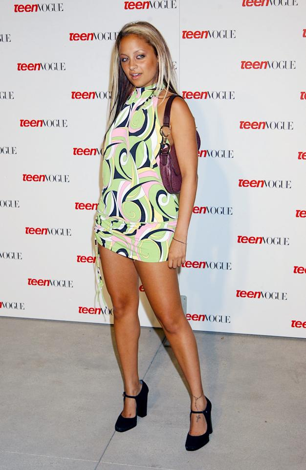 "In 2003, Nicole Richie started to make a name for herself with ""<a target=""_blank"" href=""http://tv.yahoo.com/simple-life/show/35039"">The Simple Life</a>."" What was not so simple was her wardrobe. At Teen Vogue's Young Hollywood party, Nicole turned heads in a '70s-inspired kaleidoscope dress. Her supershort hem, paired with overly tanned skin and damaged hair, didn't make a fashionable impression."