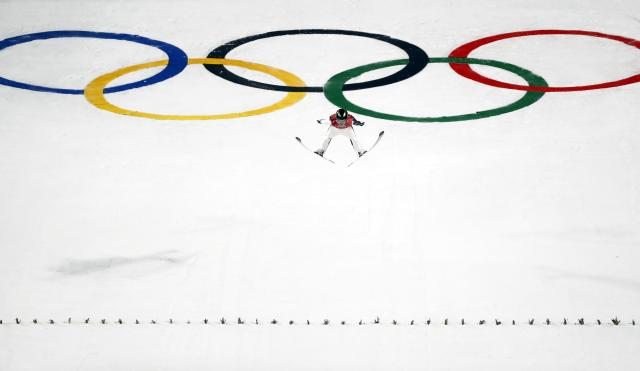Ski Jumping - Pyeongchang 2018 Winter Olympics - Men's Large Hill Individual Qualifications - Alpensia Ski Jumping Centre - Pyeongchang, South Korea - February 16, 2018 - Jernej Damjan of Slovenia competes. REUTERS/Kai Pfaffenbach