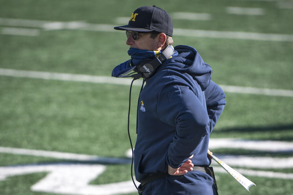 ANN ARBOR, MI - OCTOBER 31: Head coach Jim Harbaugh of the Michigan Wolverines looks on during the fourth quarter against the Michigan State Spartans at Michigan Stadium on October 31, 2020 in Ann Arbor, Michigan. (Photo by Nic Antaya/Getty Images)