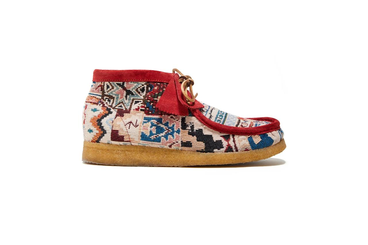 """$298, Todd Snyder. <a href=""""https://www.toddsnyder.com/collections/new-arrivals/products/clarks-x-ts-wallabee-boot-multicolour-textile-multi"""">Get it now!</a>"""