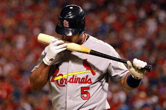 ARLINGTON, TX - OCTOBER 23: Albert Pujols #5 of the St. Louis Cardinals at bat during Game Four of the MLB World Series against the Texas Rangers at Rangers Ballpark in Arlington on October 23, 2011 in Arlington, Texas. (Photo by Ronald Martinez/Getty Images)