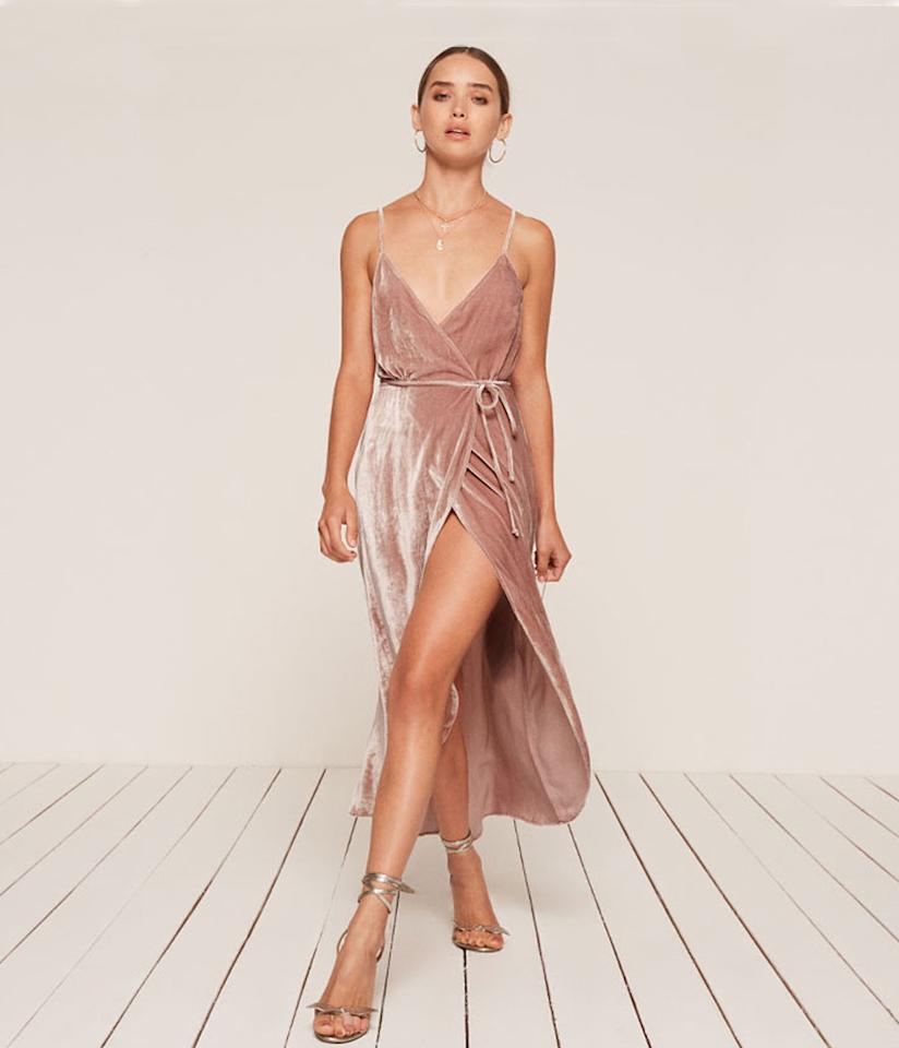 """<p>Anoush Dress, $218,<a rel=""""nofollow"""" href=""""https://www.thereformation.com/products/anoush-dress-blush""""> thereformation.com</a> </p>"""