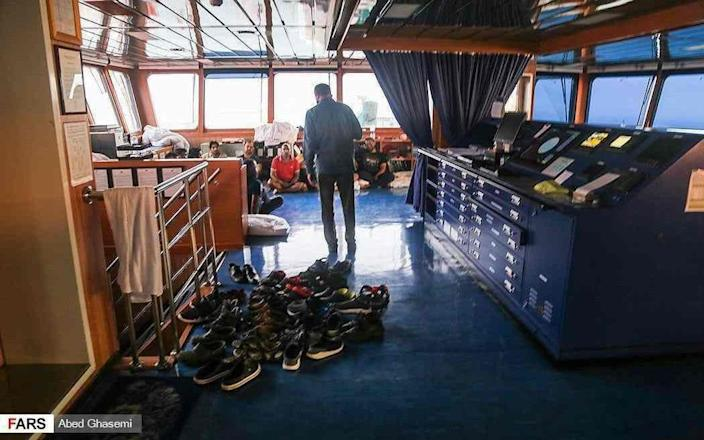 Some of the the Stena Impero's 23 foreign crew members being detained by Iranian authorities after the British-flagged tanker was seized - Fars