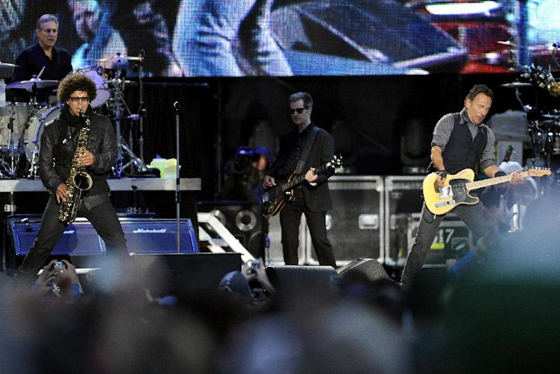 Bruce Springsteen and the E Street Band perform during the 2014 NCAA March Madness Music Festival - Capital One JamFest, Sunday, April 6, 2014, in Dallas. (Photo by Matt Strasen/Invision/AP)