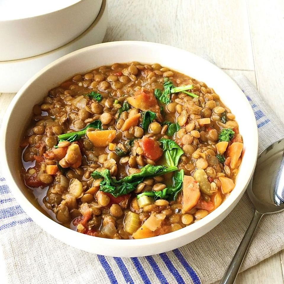 """<p>This soup is so hearty, you won't be missing meat at all.</p><p>Get the recipe from <a rel=""""nofollow"""" href=""""http://www.delish.com/cooking/recipe-ideas/recipes/a44787/lentil-soup-recipe/?visibilityoverride"""">Delish</a>.</p>"""