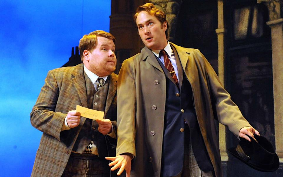 James Corden, left, and Oliver Chris in the National Theatre's production of One Man Two Guvnors - Alastair Muir