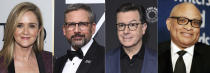 """This combination photo shows, from left, Samantha Bee, Steve Carell, Stephen Colbert and Larry Whitmore, who were all cast members on """"The Daily Show with Jon Stewart."""" (AP Photo)"""