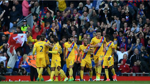 Crystal Palace gave their chances of avoiding Premier League relegation another boost with a Christian Benteke-inspired 2-1 win at Liverpool