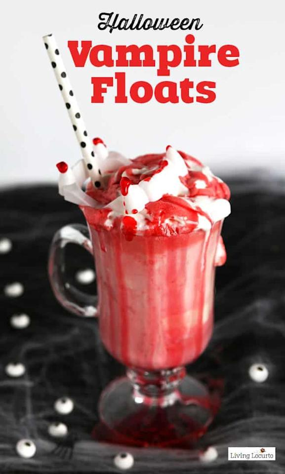 "<p>Scoop vanilla ice cream into glasses and pour strawberry soda on top. Top with whipped cream and strawberry syrup, plus any vampire decorations you can find.</p><p><em>Recipe by <a href=""https://www.livinglocurto.com/halloween-vampire-ice-cream-floats-recipe-2/"" target=""_blank"">Living Locurto</a></em></p>"