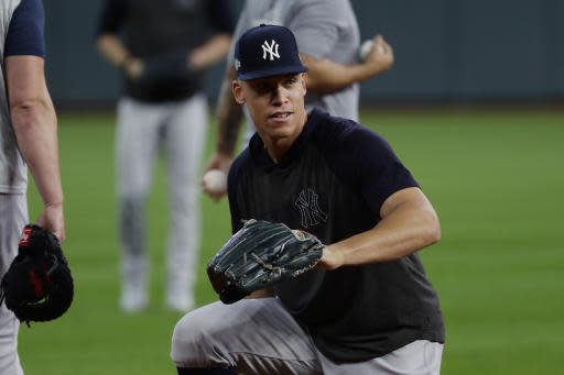New York Yankees right fielder Aaron Judge takes part in a team workout for the baseball American League Championship Series in Houston, Friday, Oct. 11, 2019. The Yankees are scheduled to face the Houston Astros starting Saturday. (AP Photo/Eric Gay)