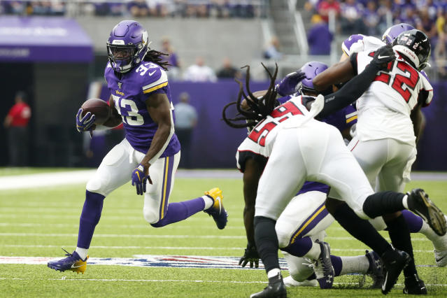 Minnesota Vikings running back Dalvin Cook (33) carries the ball during the first half of an NFL football game against the Atlanta Falcons, Sunday, Sept. 8, 2019, in Minneapolis. (AP Photo/Bruce Kluckhohn)