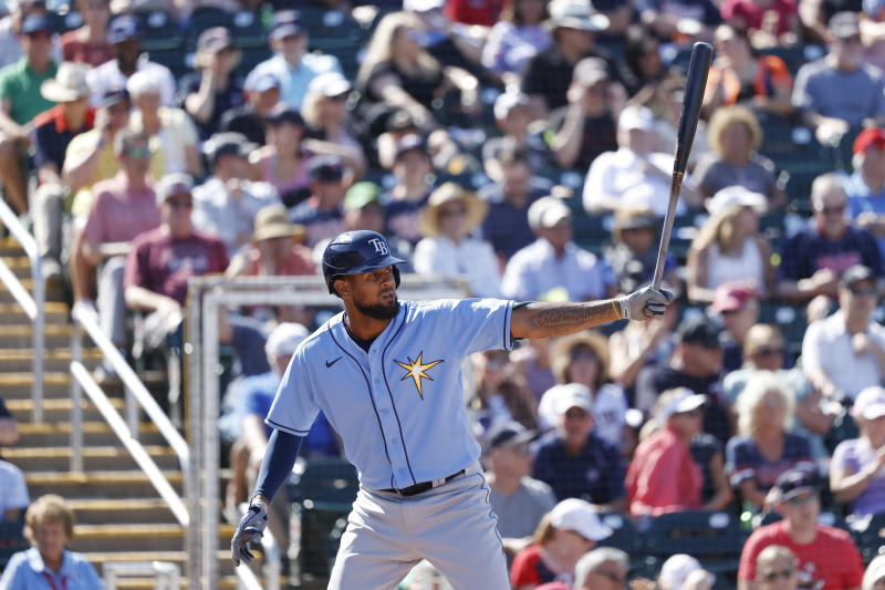 FORT MYERS, FL - MARCH 06: Jose Martinez #40 of the Tampa Bay Rays steps to the plate to bat in the sixth inning of a Grapefruit League spring training game against the Minnesota Twins at Hammond Stadium on March 6, 2020 in Fort Myers, Florida. The Twins defeated the Rays 5-3. (Photo by Joe Robbins/Getty Images)