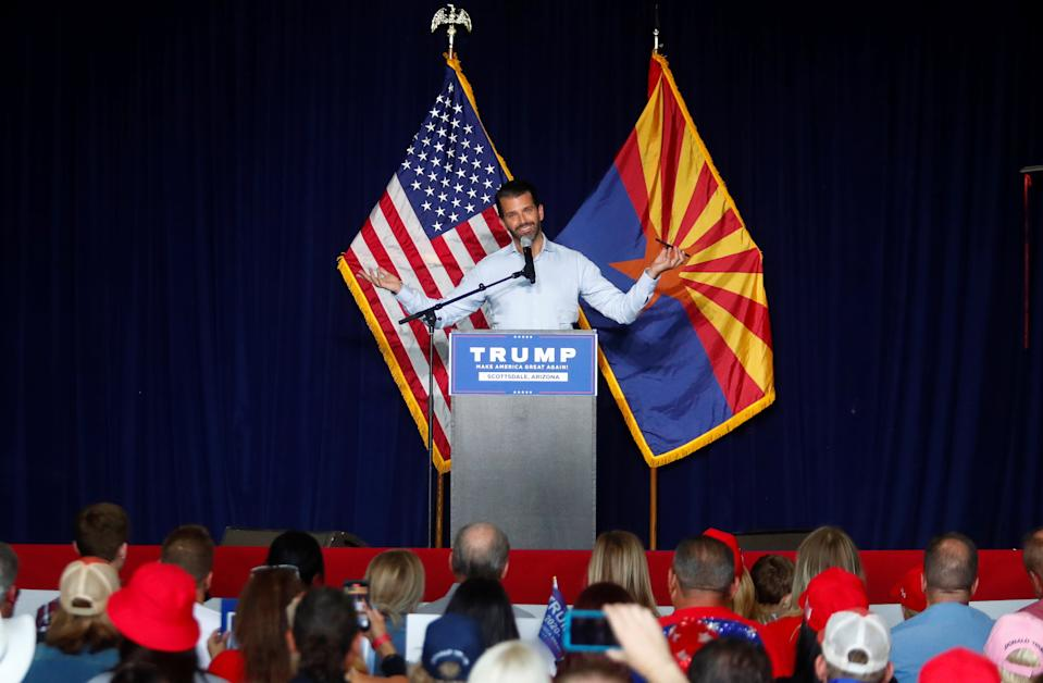 Donald Trump Jr gestures during a campaign rally for U.S. President Donald Trump ahead of Election Day, in Scottsdale, Arizona.