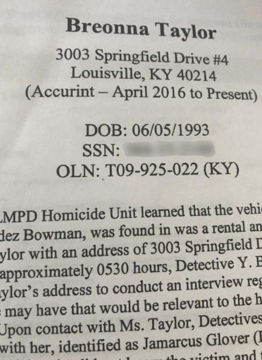 The front page of an undated report prepared by Louisville Metro Police as part of its investigation of accused drug dealer Jamarcus Glover, Breonna Taylor's boyfriend.