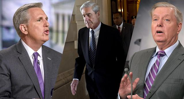 Kevin McCarthy, Robert Mueller, Lindsey Graham. (Photo: William B. Plowman/NBC/NBC NewsWire via Getty Images, Saul Loeb/AFP/Getty Images, Chip Somodevilla/Getty Images)