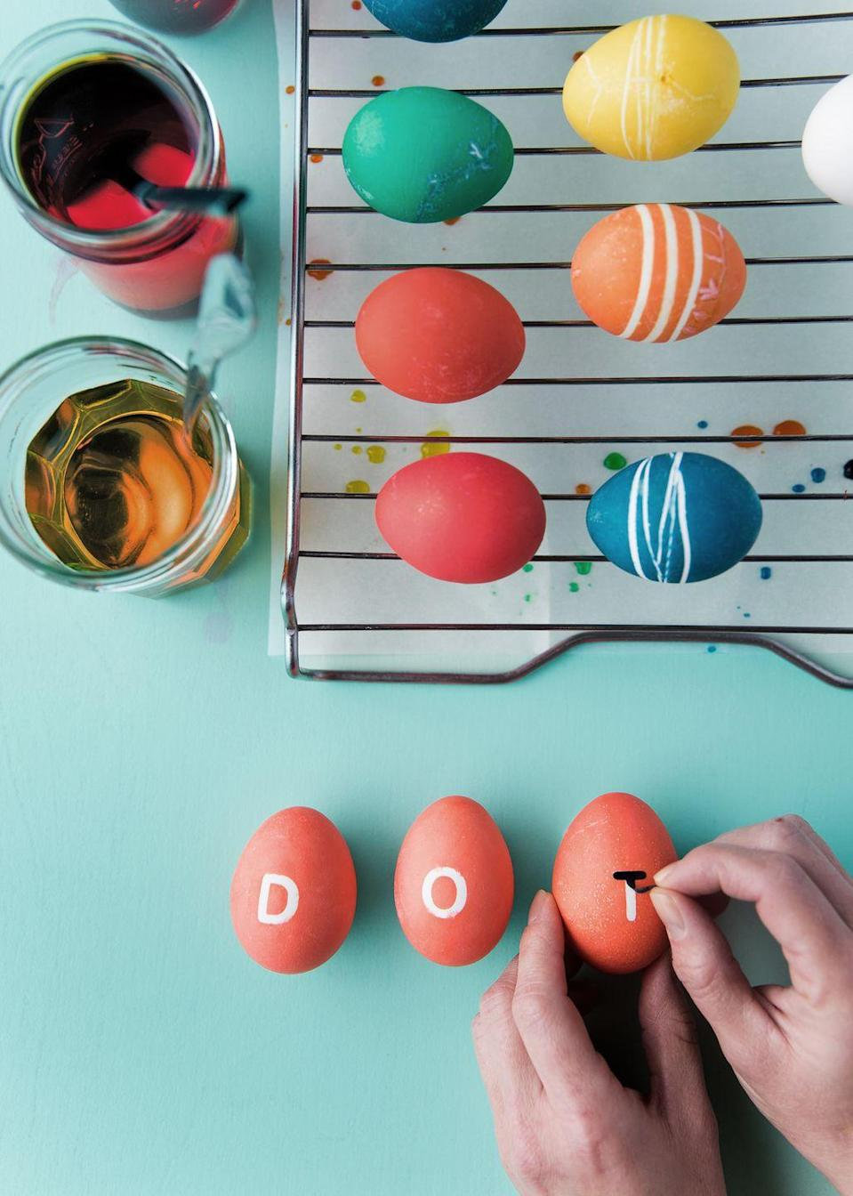 "<p>We love using small letter stickers on the eggs for our kids' <a href=""https://www.countryliving.com/diy-crafts/g3099/easter-basket-ideas/"" rel=""nofollow noopener"" target=""_blank"" data-ylk=""slk:Easter baskets"" class=""link rapid-noclick-resp"">Easter baskets</a>! For an <a href=""https://www.countryliving.com/entertaining/g4083/easter-egg-hunt-ideas/"" rel=""nofollow noopener"" target=""_blank"" data-ylk=""slk:Easter egg hunt"" class=""link rapid-noclick-resp"">Easter egg hunt</a> with a mysterious twist, try spelling out a secret message with one letter on each egg. </p><p><a class=""link rapid-noclick-resp"" href=""https://www.amazon.com/Chartpak-Self-Adhesive-Capital-Letters-Numbers/dp/B009Y6UURY/?tag=syn-yahoo-20&ascsubtag=%5Bartid%7C10050.g.26810304%5Bsrc%7Cyahoo-us"" rel=""nofollow noopener"" target=""_blank"" data-ylk=""slk:SHOP LETTER STICKERS"">SHOP LETTER STICKERS</a></p>"