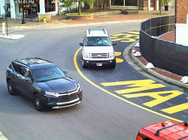PHOTO: Surveillance video released by police shows an SUV driving around a traffic circle in Fayetteville, N.C., just before passing close to a group of Black Lives Matter protesters, May 7, 2021. (Fayetteville Police Department)