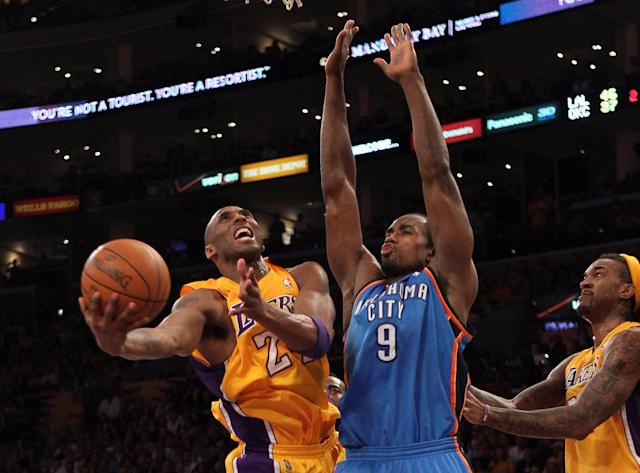 LOS ANGELES, CA - MAY 19: Kobe Bryant #24 of the Los Angeles Lakers goes up for a shot against Serge Ibaka #9 of the Oklahoma City Thunder in the first half in Game Four of the Western Conference Semifinals in the 2012 NBA Playoffs on May 19 at Staples Center in Los Angeles, California. NOTE TO USER: User expressly acknowledges and agrees that, by downloading and or using this photograph, User is consenting to the terms and conditions of the Getty Images License Agreement. (Photo by Stephen Dunn/Getty Images)