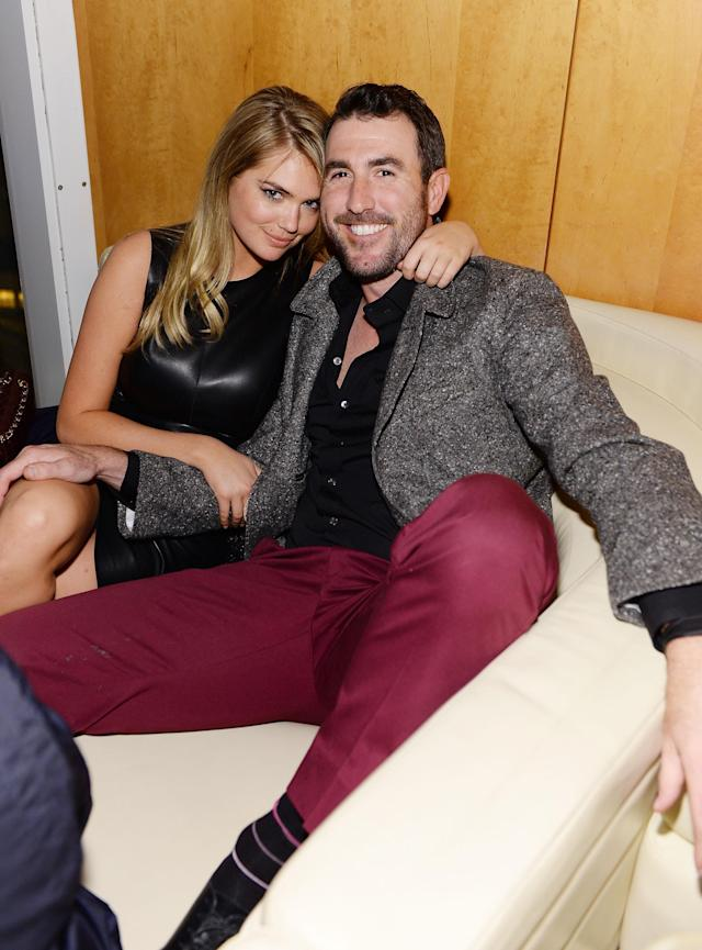 <p>Kate Upton and Justin Verlander attend the GQ Super Bowl Party 2014 sponsored by Patron Tequila, Van Heusen, and Miller Fortune on January 31, 2014 in New York City. (Photo by Dimitrios Kambouris/Getty Images for GQ) </p>