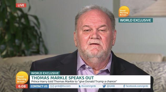 """Thomas Markle pictured during his interview with ITV's """"Good Morning Britain."""" (Photo: ITVs Good Morning Britain)"""