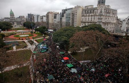 FILE PHOTO: Pro-abortion demonstrators take part in a protest in front of National Congress while an abortion bill is debated in Buenos Aires