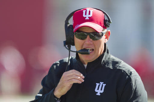 FILE - In this Saturday, Oct. 13, 2018, file photo, Indiana head coach Tom Allen is seen on the sidelines during the second half of an NCAA college football game against Iowa, in Bloomington, Ind. (AP Photo/Doug McSchooler, File)