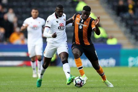 Britain Soccer Football - Hull City v Watford - Premier League - The Kingston Communications Stadium - 22/4/17 Watford's M'Baye Niang in action with Hull City's Alfred N'Diaye Reuters / Scott Heppell Livepic