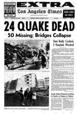 The front page of the L.A. Times on Feb. 10, 1971.