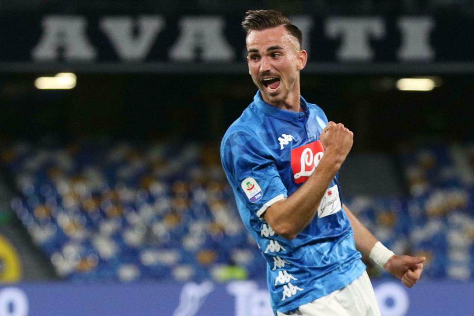 Napoli's midfielder Fabian Ruiz celebrates after scoring a goal during the Italian Serie A soccer match between SSc Napoli and Inter FC at the San Paolo stadium in Naples, Italy, Sunday May 19, 2019. (Cesare Abbate/ANSA via AP)