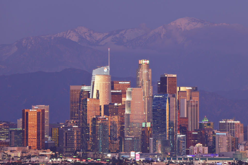 The skyline of Los Angeles, California at sunset.
