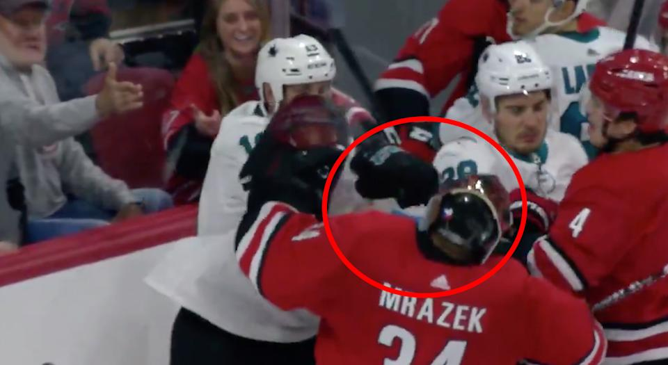 Jumbo Joe Thornton Landed A Right Hook That Sent Petr Mrazek Crashing