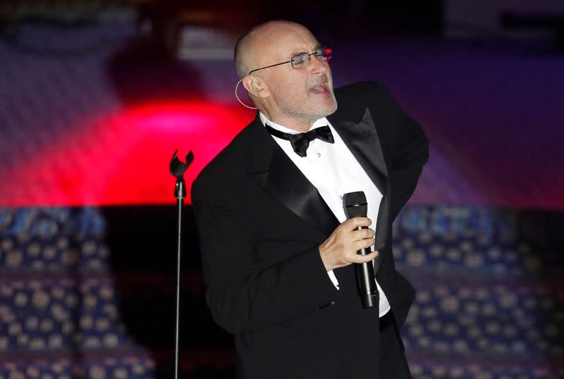 FILE PHOTO: Phil Collins performs after he was inducted into the Songwriters Hall of Fame in New York